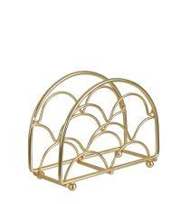 Serviettenhalter aus zartem, geometrisch geformten Eisendraht, gold