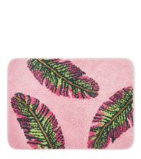 rosa Badematte mit pink-grüner Bananen-Blätter-Verzierung