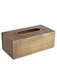 Kleenex-Box aus Edelstahl mit strukturierter Oberfläche, antikgold