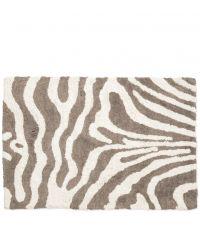 weiche Badematte aus Baumwolle mit Zebramuster, taupe & naturweiß