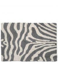 weiche Badematte aus Baumwolle mit Zebramuster, dunkelgrau & naturweiß