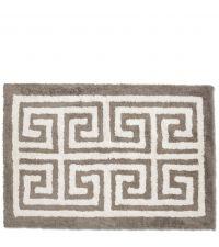 weiche Badematte aus Baumwolle mit geometrischem Muster, taupe & naturweiß