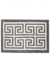 weiche Badematte aus Baumwolle mit geometrischem Muster, dunkelgrau & naturweiß