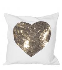 Kissenhülle mit Herz aus Pailletten, gold & weiß
