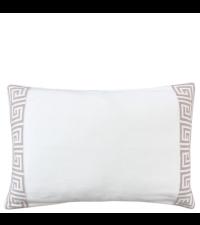 Kissenhülle gestrickt aus Baumwolle mit geometrischem Muster, weiß & taupe