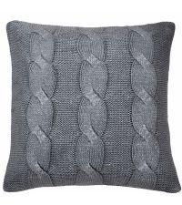 silberne Strick-Kissenhülle mit Metallic Zopf-Muster by Saskiasbeautyblog