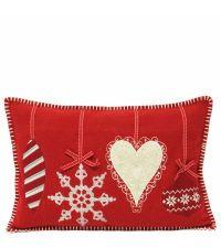 rote Kissenhülle mit weihnachtlichen Motiven by Saskiasbeautyblog