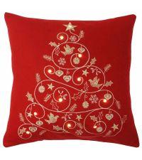 rote Kissenhülle mit Weihnachtsbaum und Lichtern by Saskiasbeautyblog