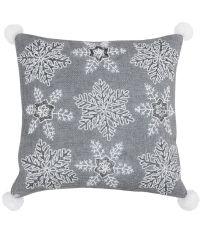 graue Kissenhülle mit weihnachtlichen Perlenstickereien by Saskiasbeautyblog