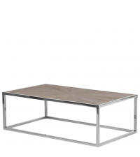 rechteckiger Couchtisch mit Tischplatte aus Vollholz und Chromrahmen