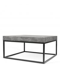 quadratischer Couchtisch Tischplatte in Beton-Optik Füße aus Metall schwarz