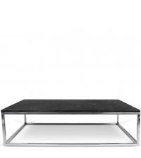 rechteckiger Couchtisch Tischplatte aus schwarzem Marmor Füße aus Chrom
