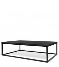 rechteckiger Couchtisch Tischplatte aus schwarzem Marmor Füße aus Metall schwarz