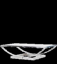 zarter, moderner Couchtisch mit Chromrahmen & Glasplatte