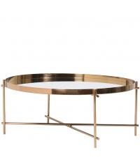 runder Couchtisch mit zarten Metallbeinen und verspiegelter Oberfläche in strahlendem Kupfer