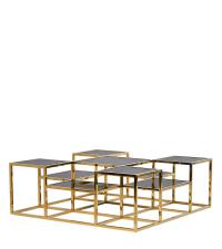 Multi-Couchtisch mit mehreren Ebenen, mit Goldrahmen und schwarzen Glasplatten