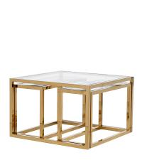 dreiteiliges Couchtisch-Set mit Goldrahmen und Glasplatten