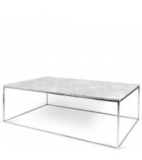 zarter, rechteckiger Couchtisch Tischplatte aus weißem Marmor Füße aus Chrom