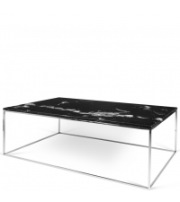 zarter, rechteckiger Couchtisch Tischplatte aus schwarzem Marmor Füße aus Chrom