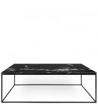 zarter, rechteckiger Couchtisch Tischplatte aus schwarzem Marmor Füße aus Metall, schwarz