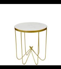 kleiner runder Couchtisch mit weißer Marmorplatte und goldenem Gestell aus Metallstäben