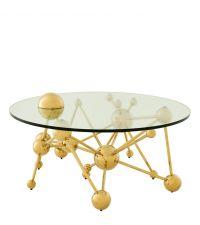 moderner Couchtisch mit goldenem Rahmen aus Kugeln & Glasplatte, Eichholtz
