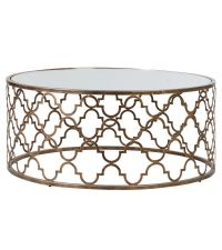 Traumhafter Couchtisch mit runder Glasplatte und bronzenem Gerüst, orientalischer Stil