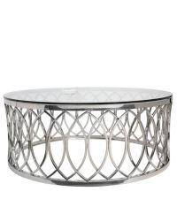 runder Couchtisch mit Chrom-Rahmen im Blatt-Muster und transparenter Glas-Ablagefläche, silber