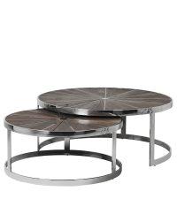 2-teiliges, rundes Couchtisch-Set aus Ulmenholz mit strahlenförmiger, silberner Verzierung und silbernem Metallrahmen