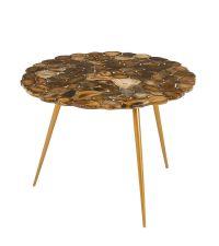 elder Couchtisch mit aufwändig gefertigter Tischplatte aus Achatscheiben mit goldenen Füßen