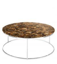 großer, runder Couchtisch mit aufwändig gefertigter Tischplatte aus Achatscheiben mit Chromrahmen