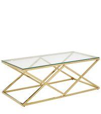 länglicher Couchtisch mit geometrisch geformtem Metallrahmen & Glasplatte, gold