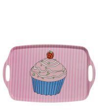 Cupcake Tablett Servierbrett pink gestreift groß