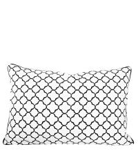 Dekokissenhülle Trellis aus weißer Baumwolle mit schwarzem Trellis-Muster, klein
