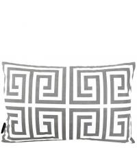 Kissenhülle aus Baumwolle mit geometrischem Muster, grau & weiß