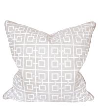 Kissenhülle aus Baumwolle mit geometrischem Quadrat-Muster, hellgrau & weiß