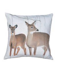 winterliche Kissenhülle mit Reh-Print