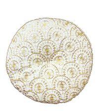 rundes Dekokissen mit goldenen Stickereien