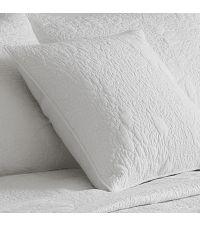 weiße Kissenhülle aus Baumwolle mit Musterung, quadratisch