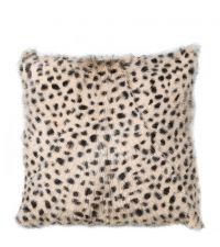 Kissenhülle aus Ziegenfell mit Leoparden-Print in beige und schwarz
