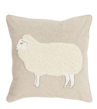 beige Kissenhülle mit großem applizierten Schaf mit kuscheligem Fell aus Wolle
