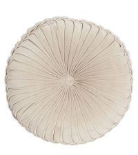 großes rundes Dekokissen oder Sitzkissen aus Samt mit Raffungen, Samtkissen sandfarben