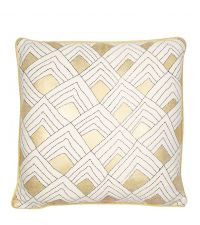 weiße, geometrisch gemusterte Kissenhülle mit goldenem Metallic-Effekt