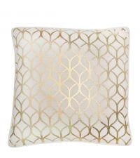 weiße Kissenhülle mit metallisch goldenem Trellis-Muster
