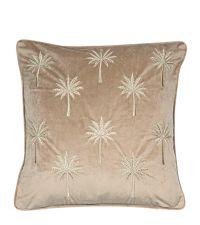 Samt-Kissenhülle mit Kederumrandung und goldenen aufgestickten Palmen, taupe