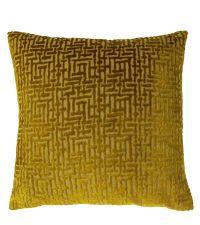 geometrisch gemusterte Samt-Kissenhülle, gold