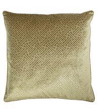 große Kissenhülle aus Samt mit erhabener, geometrischer Musterung, gold
