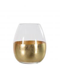 bauchige Glasvase mit breitem Goldstreifen