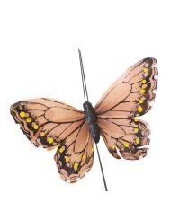 drei rosefarbene Deko-Schmetterlinge mit Draht