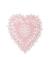 verziertes Herz-Wandbild, pastellrosa